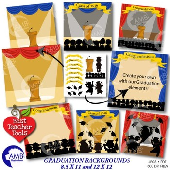Graduation Clipart, Graduation Stage Backgrounds, Cards, P