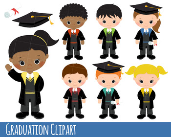 Graduation Clipart, Graduation graphics, scroll, cap, graduate boys and girls