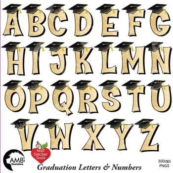 Graduation Clipart, Mega Bundle, Alphabet and Numbers in Gold Clipart, AMB-2223