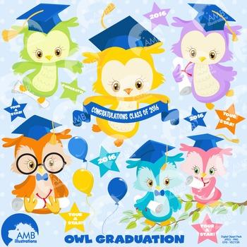 Graduation Clipart, Owls Clipart, Owl Clip Art, AMB-1206