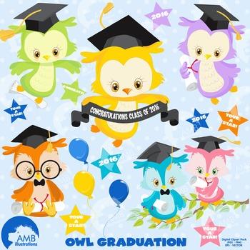 Graduation Clipart, Owls Clipart, Owl Clip Art, AMB-1208