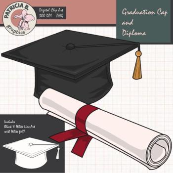 Graduation Clipart: Realistic Graduation Cap and Diploma