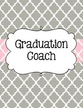 Graduation Coach Binder for Organization Pink and Gray Quatrefoil