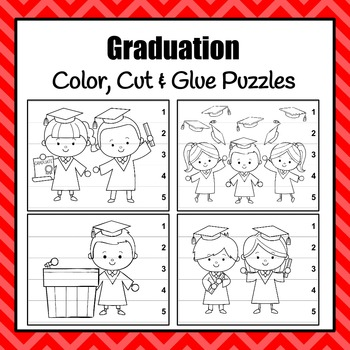 Graduation Color Cut and Glue Puzzles