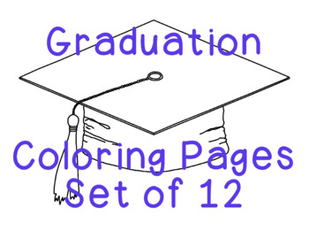 Graduation Coloring Pages Mortarboard Diploma Balloons PDF Printable Set of Four