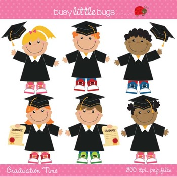 Graduation Day Clipart Set - Includes color and black lines