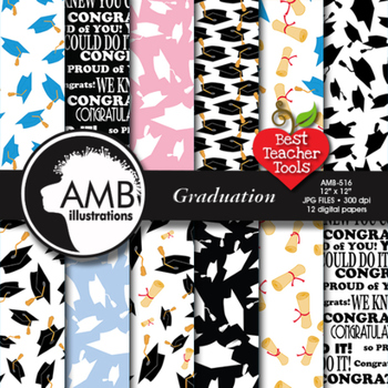 Graduation Digital Papers, scrapbooking papers AMB-516