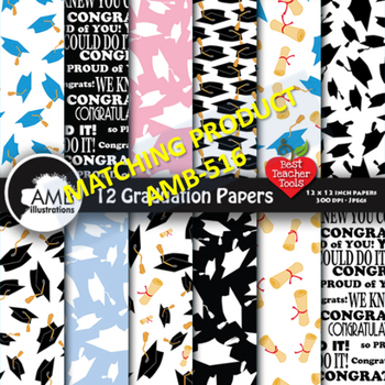 Graduation Digital scrapbooking papers in Black and Grays, AMB-181