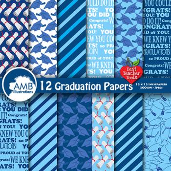 Graduation Digital scrapbooking papers in Blues AMB-182