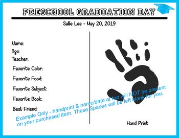 Graduation Diploma Certificate - Preschool - Light Blue