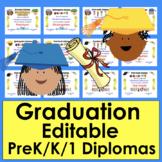 Graduation Certificates Distance Learning Editable PreK K and 1
