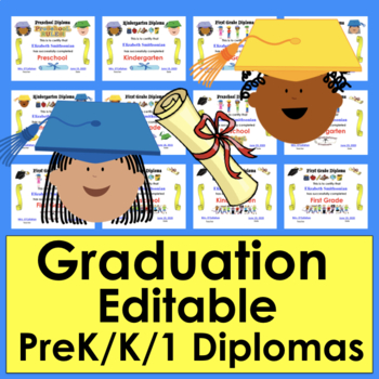 Graduation Certificates Distance Learning Editable PreK K and 1
