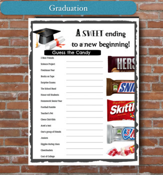 photo regarding Printable Trunk Party Games identified as Commencement Sport - Bet the Sweet Bar