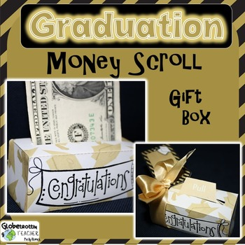 Graduation Gift - Money Scroll Box (Gold Grad Caps)