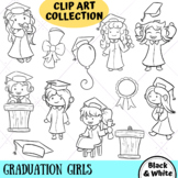 Graduation Girls Clip Art Collection (BLACK AND WHITE ONLY)