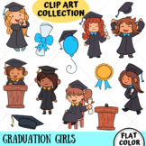 Graduation Girls Clip Art Collection (FLAT COLOR ONLY)
