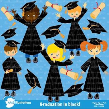 Graduation Clipart, Graduation in Black Gowns Clip Art, AMB-222