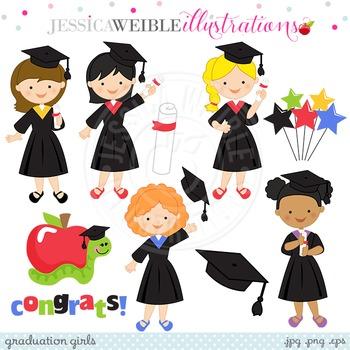 Graduation Girls Cute Digital Clipart, Girls Graduating Clip Art