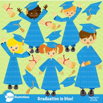 Graduation Clipart, Girls in Blue Clipart, AMB-225