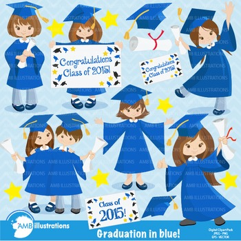 Graduation Girls in Blue Clipart, AMB-864