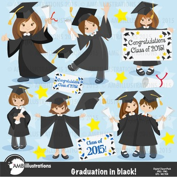Graduation Boys and Girls in Black Clipart, AMB-867