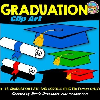Graduation Hats and Scrolls Clip Art for Teachers
