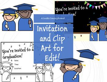 Graduation Invitation Editable- *Bonus* ClipArt Included