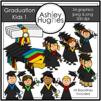 Graduation Kids 1 Clipart {A Hughes Design}