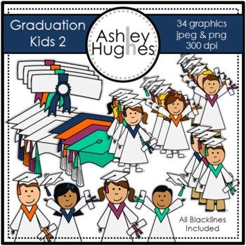 Graduation Kids 2 Clipart {A Hughes Design}