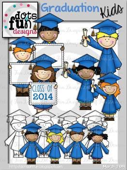 Graduation Kids Clipart ~Dots of Fun Designs~