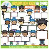 Graduation Kids with Signs Clip Art BUNDLE!