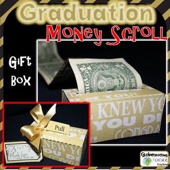 Graduation Gift - Money Scroll (Gold Words)