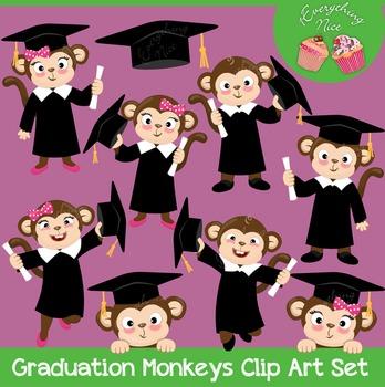 Graduation Monkeys Clipart Set