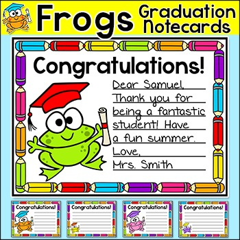 Frog Theme Graduation Notecards - End of the Year