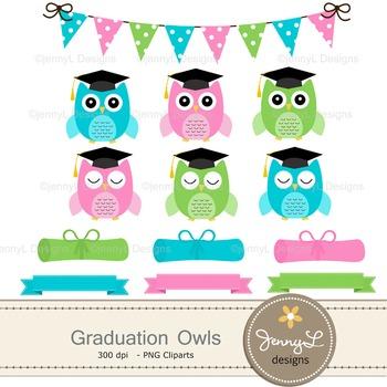 Graduation Owl digital paper and clipart