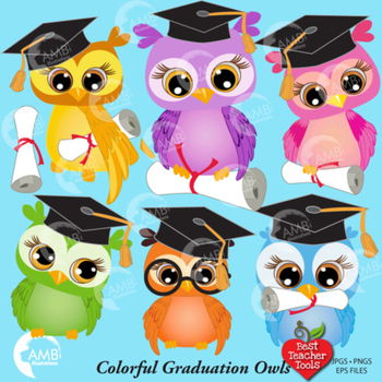 Graduation Owls, Colorful Graduation Owls Clipart AMB-267
