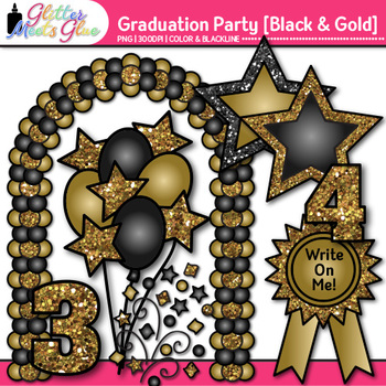 Graduation Clip Art {End of Year Party Celebration Graphics in BLACK & GOLD}