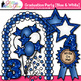 Graduation Clip Art {End of Year Party Celebration Graphics in BLUE & WHITE}