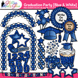 Graduation Clip Art   End of Year Party Celebration Graphics in BLUE & WHITE