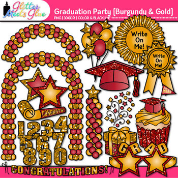 Graduation Clip Art {End of Year Party Celebration Graphics in BURGUNDY & GOLD}