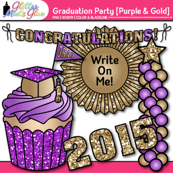 Graduation Clip Art {End of Year Party Celebration Graphics in VIOLET & GOLD}