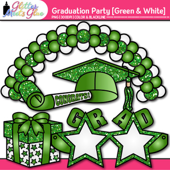 Graduation Clip Art {End of Year Party Celebration Graphics in GREEN & WHITE}