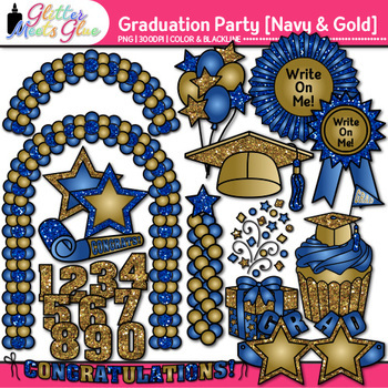 Graduation Clip Art {End of Year Party Celebration Graphics in NAVY & GOLD}
