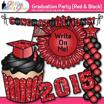 Graduation Clip Art {End of Year Party Celebration Graphics in RED & BLACK}