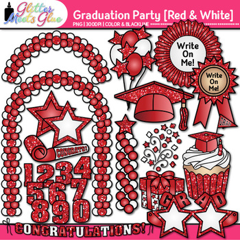 Graduation Clip Art {End of Year Party Celebration Graphics in RED & WHITE}