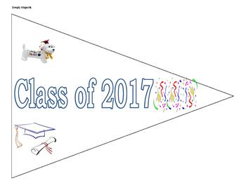 Graduation Pennant and Mini Paper Graduation Cap