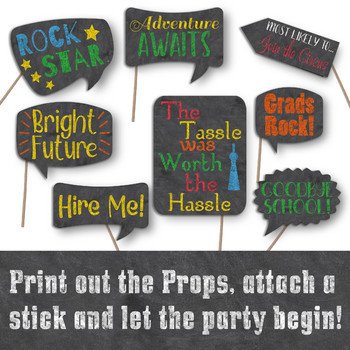 graduation photo booth prop signs colorful end of school year