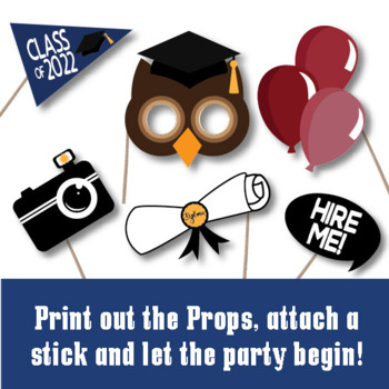 Graduation Photo Booth Props and Decorations - Class of 2018 Party Printables