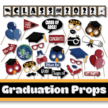 image about Printable Graduation Photo Booth Props titled Commencement Image Booth Props and Decorations - Cl of 2019 Bash Printables