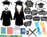 Graduation Photo Booth Props clip art high school college grad party Class -225s